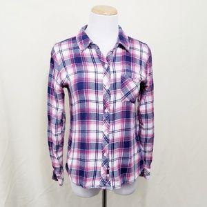 Rails Hunter plaid button down shirt pink navy sm